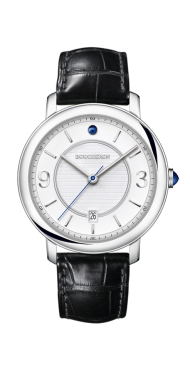Epure Watch in steel, white dial indexes-Small