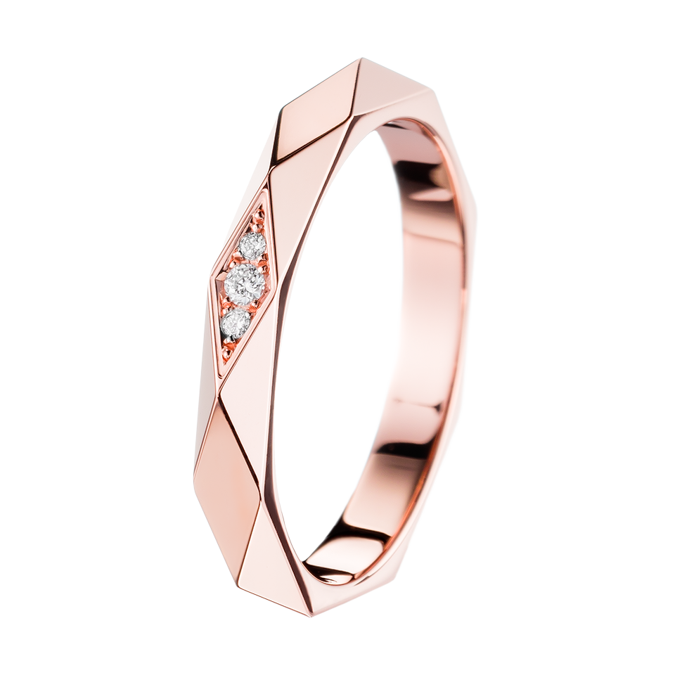 Facette Pink Gold and Diamond Wedding Band Boucheron USA