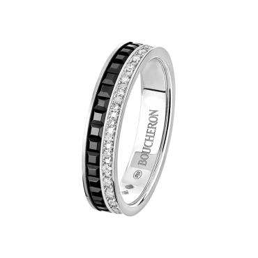 Quatre Black Edition Wedding band white gold diamonds and black PVD