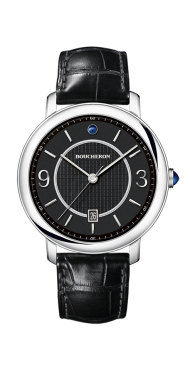 Epure Watch in steel, black dial indexes-Small
